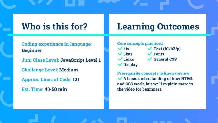 Los resultados del aprendizaje para el sitio web personal del proyecto de codificación HTML / CSS para principiantes.