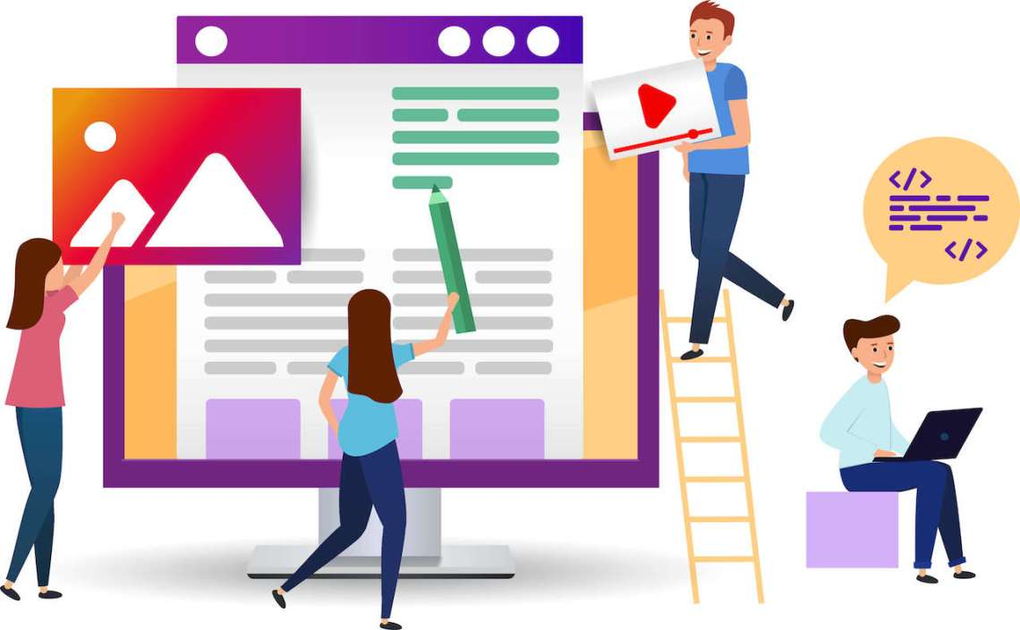 Varias personas utilizan una herramienta de creación de páginas web para crear un sitio web.