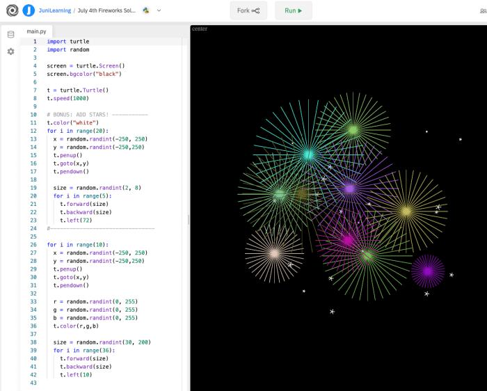 Un proyecto extendido de codificación de tortugas Python con fuegos artificiales