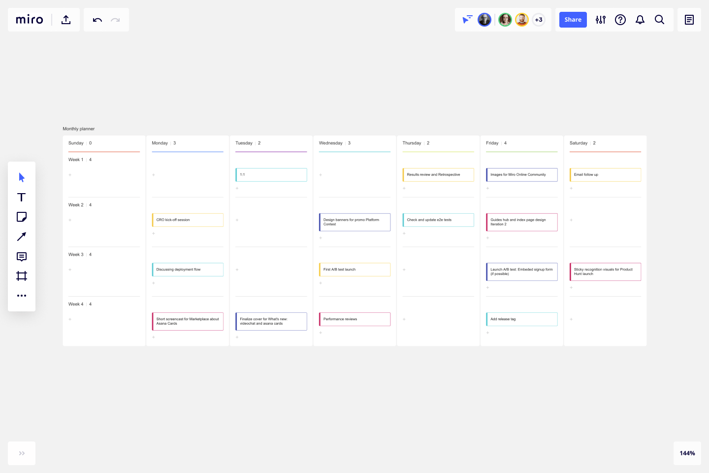 Scheduling tasks ahead of time, however, ensures that employees are never blindsided by sudden due dates and that the workload is sp. Monthly Planner Template Miro