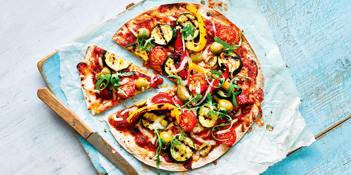 Chargrilled vegetable tortilla pizza  Recipes  Coop