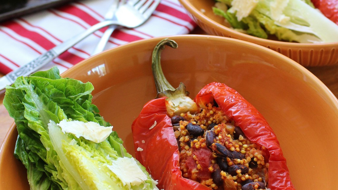 Black Bean and Millet Stuffed Peppers Recipe   Live Better