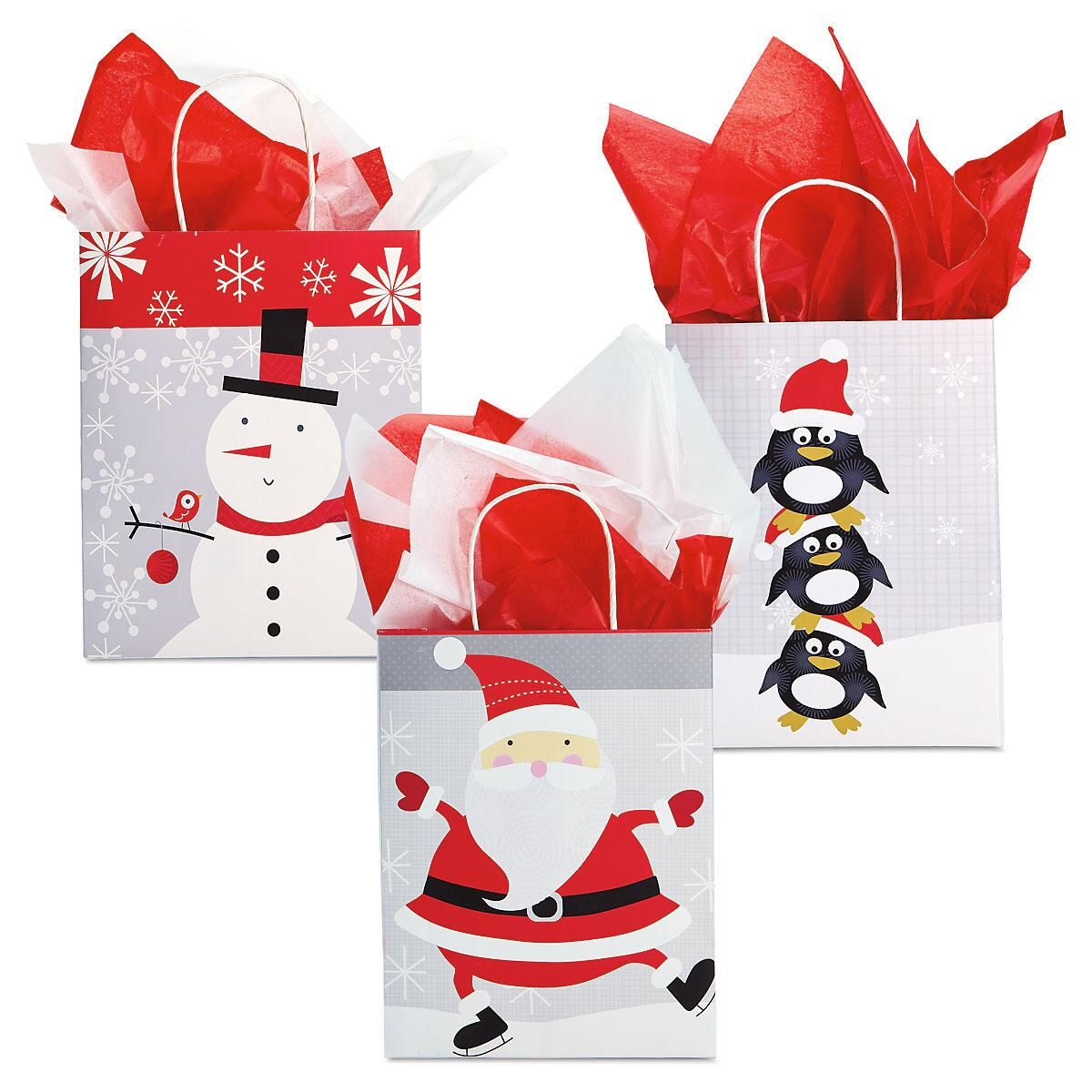 Red White Amp Silver Holiday Kraft Gift Bags Christmas