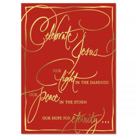 Faith Calligraphy Deluxe Foil Religious Christmas Card