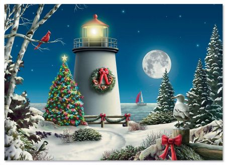 New England Fall Themed Wallpaper Winter Lighthouse Christmas Cards Current Catalog