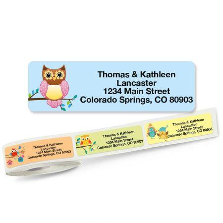 owls rolled address labels