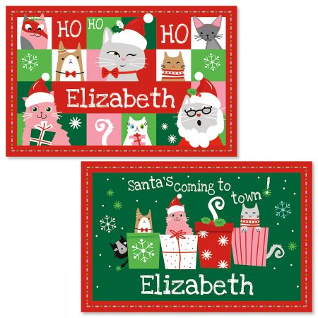 personalized christmas cat kids