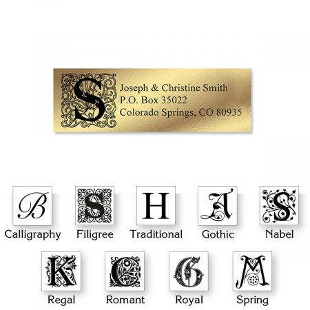 monogram gold foil address