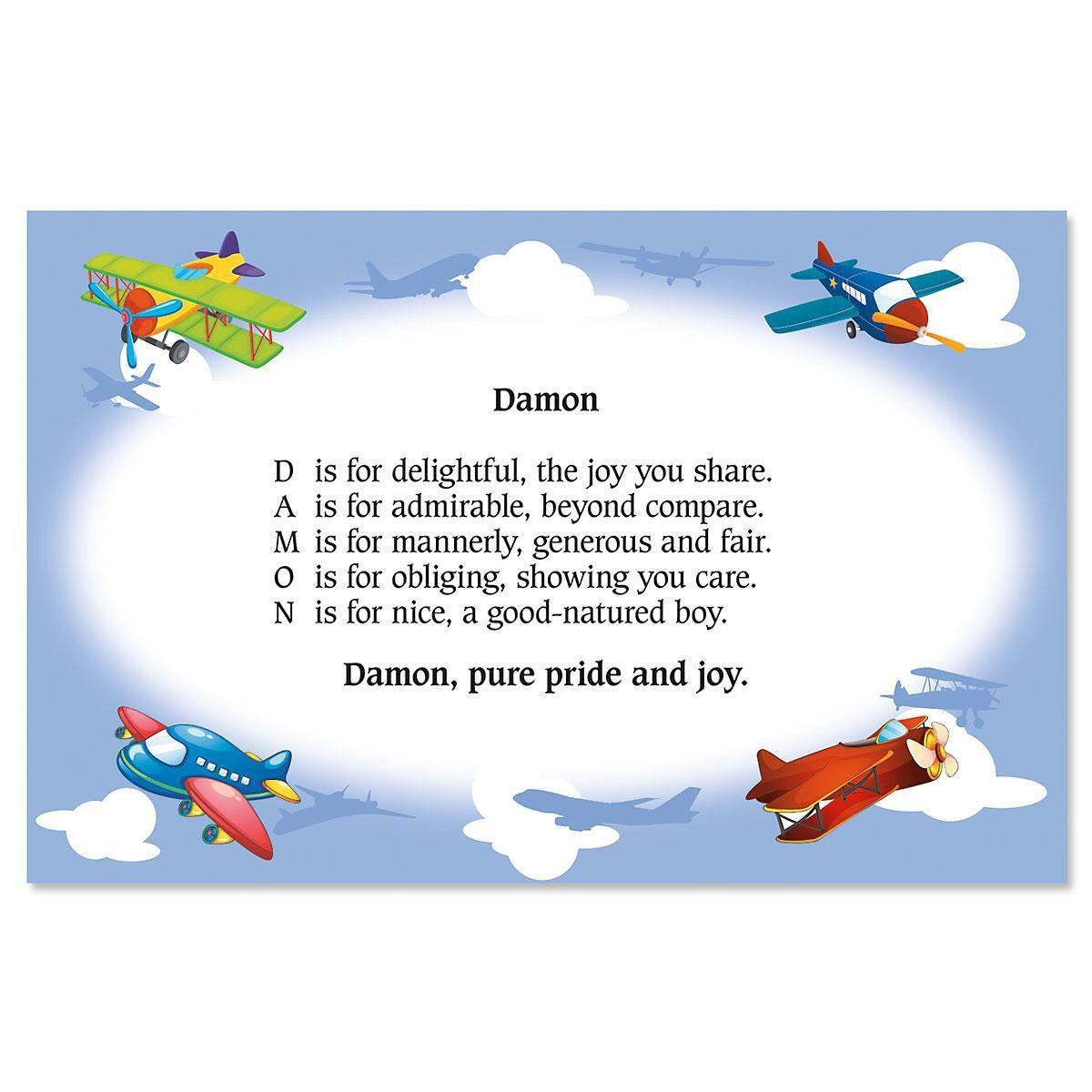 Airplane Name Poem Kids Placemats