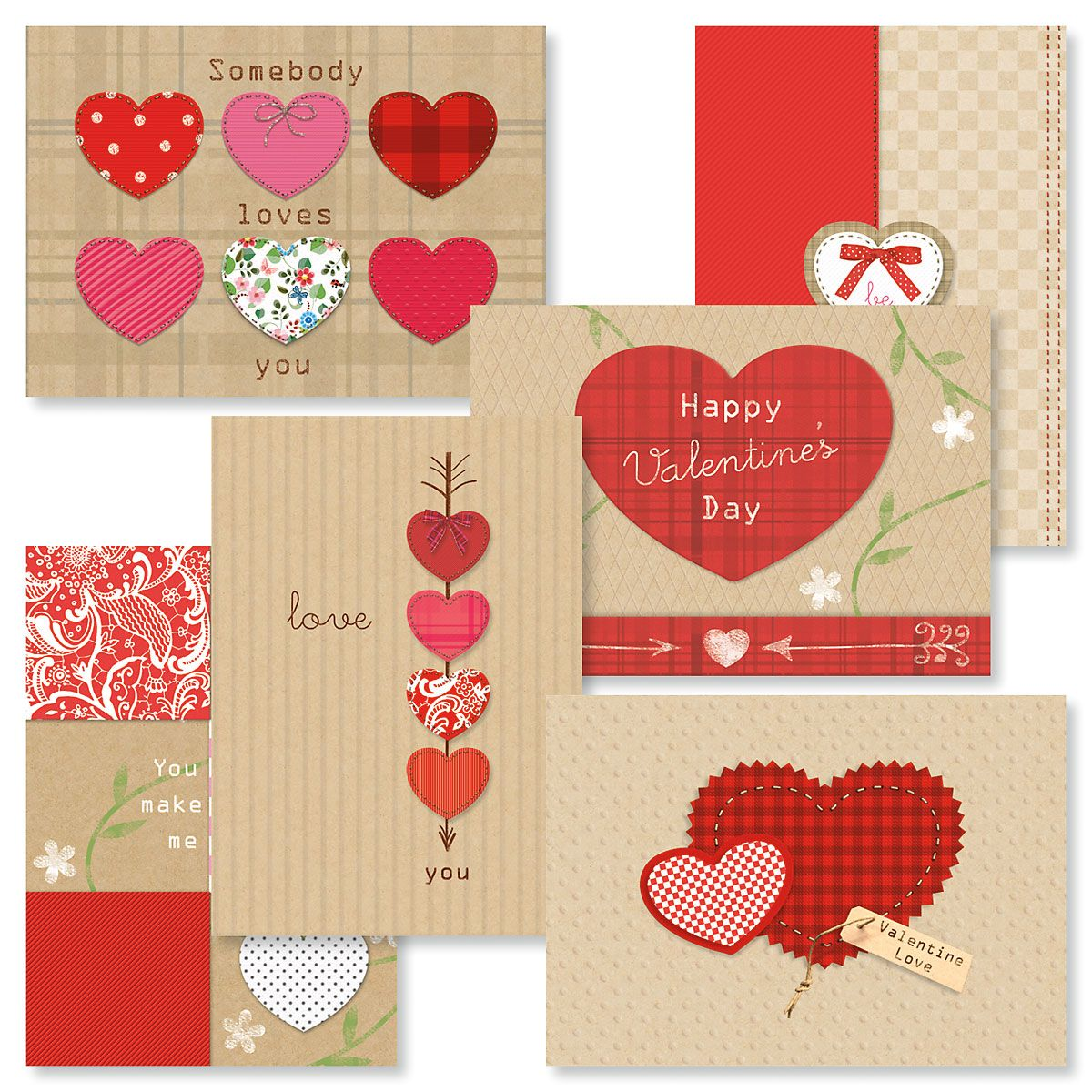 Kraft Heart Valentines Day Cards Value Pack