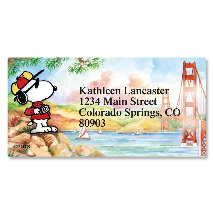 Peanuts Snoopy Around The Word Border Label Current Catalog