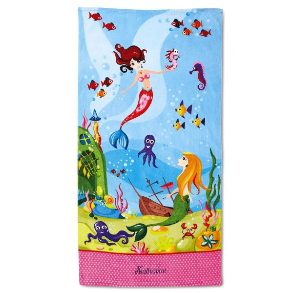 Personalized Mermaid Beach Towel Current