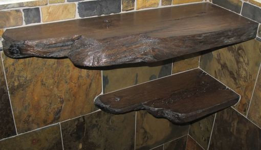 Hand Made Live Edge Barnwood Rustic Corner Shelves by
