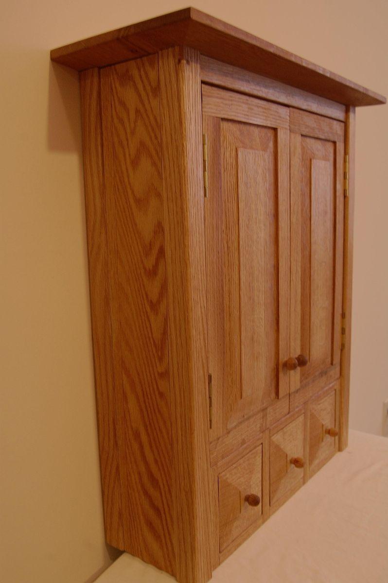 Custom Country Oak Three Drawer SpiceMedicine Cabinet By