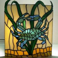 Custom Made Stained Glass Wall Sconce Crab Design by