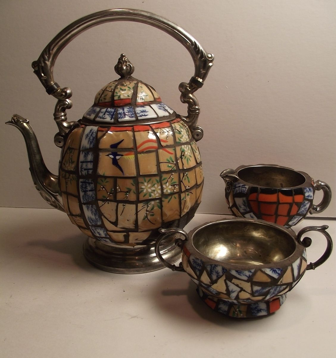 Hand Made Mosaic Silver Teapot Decorated With Broken China
