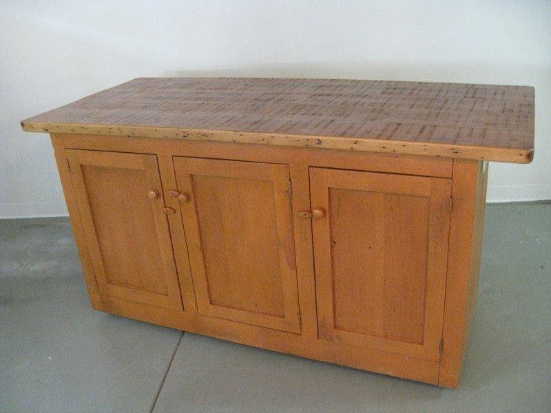 Custom Made Reclaimed Pine Kitchen Island by