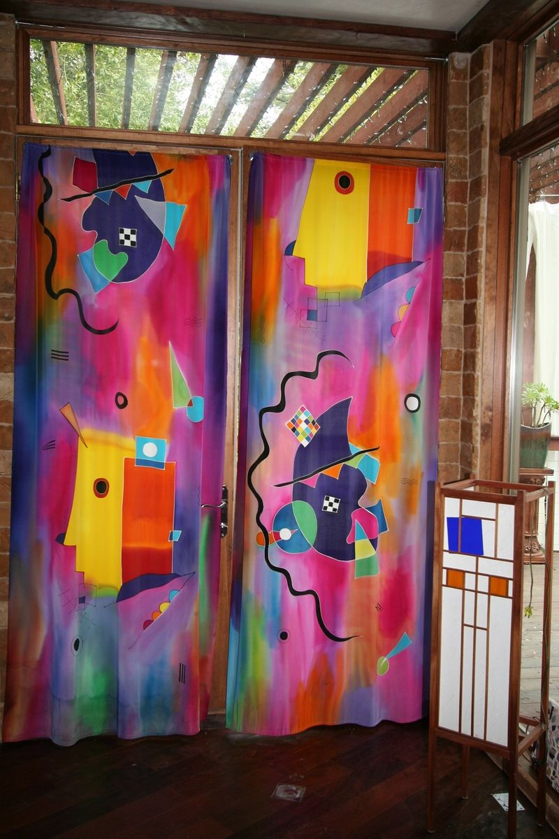 Custom Hand Painted Silk Curtains by Natashas Silks