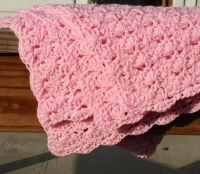 Hand Crafted Crochet Baby Blanket - Pink Shell Pattern ...