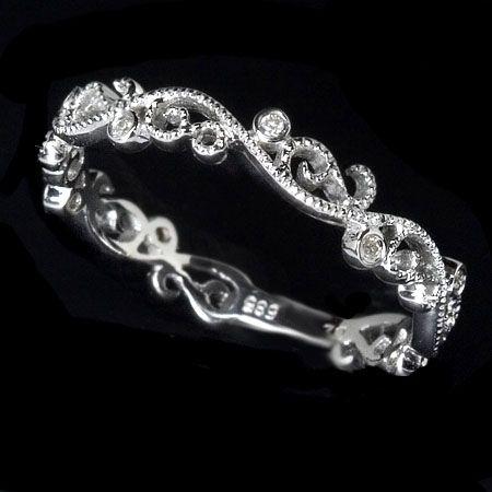 Hand Made Filigree Diamond Wedding Band Art Deco By