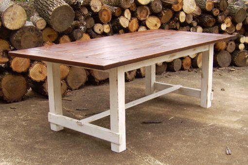 Custom Made Reclaimed Wood Farmhouse Trestle Table By