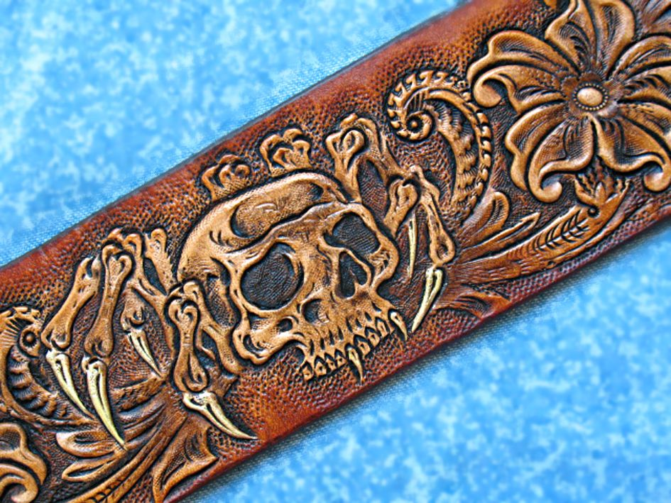 Skull Hand Tooled Leather Holsters