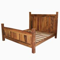Buy a Handmade Cabin Style Reclaimed Wormy Chestnut Bed ...