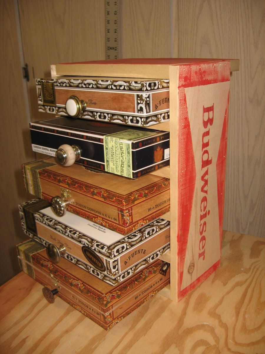 Hand Crafted Cigar Box Chest Of Drawers Jewelry Box And Keepsake Box by Schimmel Fine Pens And