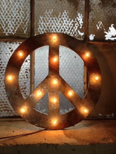 Hand Crafted Peace Sign Lighted Metal Marble Rust Finish