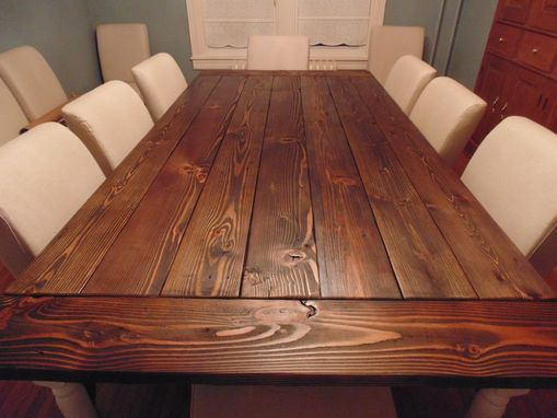 Hand Crafted Reclaimed Wood Farmhouse Table With Beautiful Turned Legs by Wonderland Woodworks