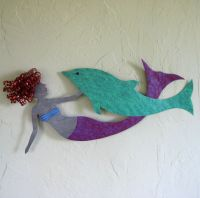 Hand Crafted Mermaid And Dolphin Wall Decor Sealife Art