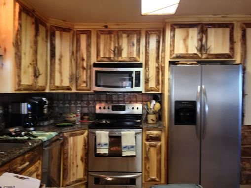 hinges for kitchen cabinets aid convection oven hand made rustic aspen log and built in ...