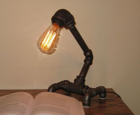 Custom Made Industrial Black Metal Pipe Desk Lamp W Touch