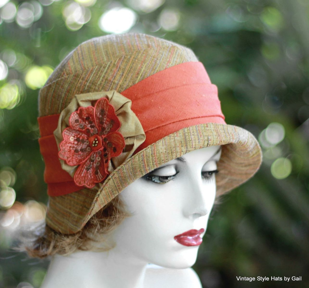 Hand Crafted Womens Cloche Hat 20S Style In Earth Tones