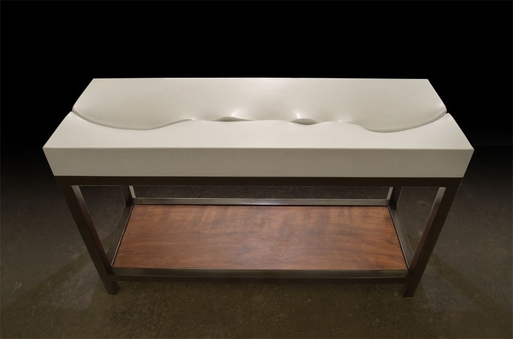Custom Fluidity Concrete Sink W Black Steel Vanity Base by Formed Stone Design  CustomMadecom