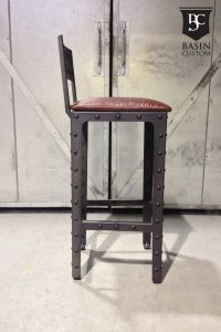 """Hand Crafted Custom 30"""" Industrial Bar Stools With Back by ..."""