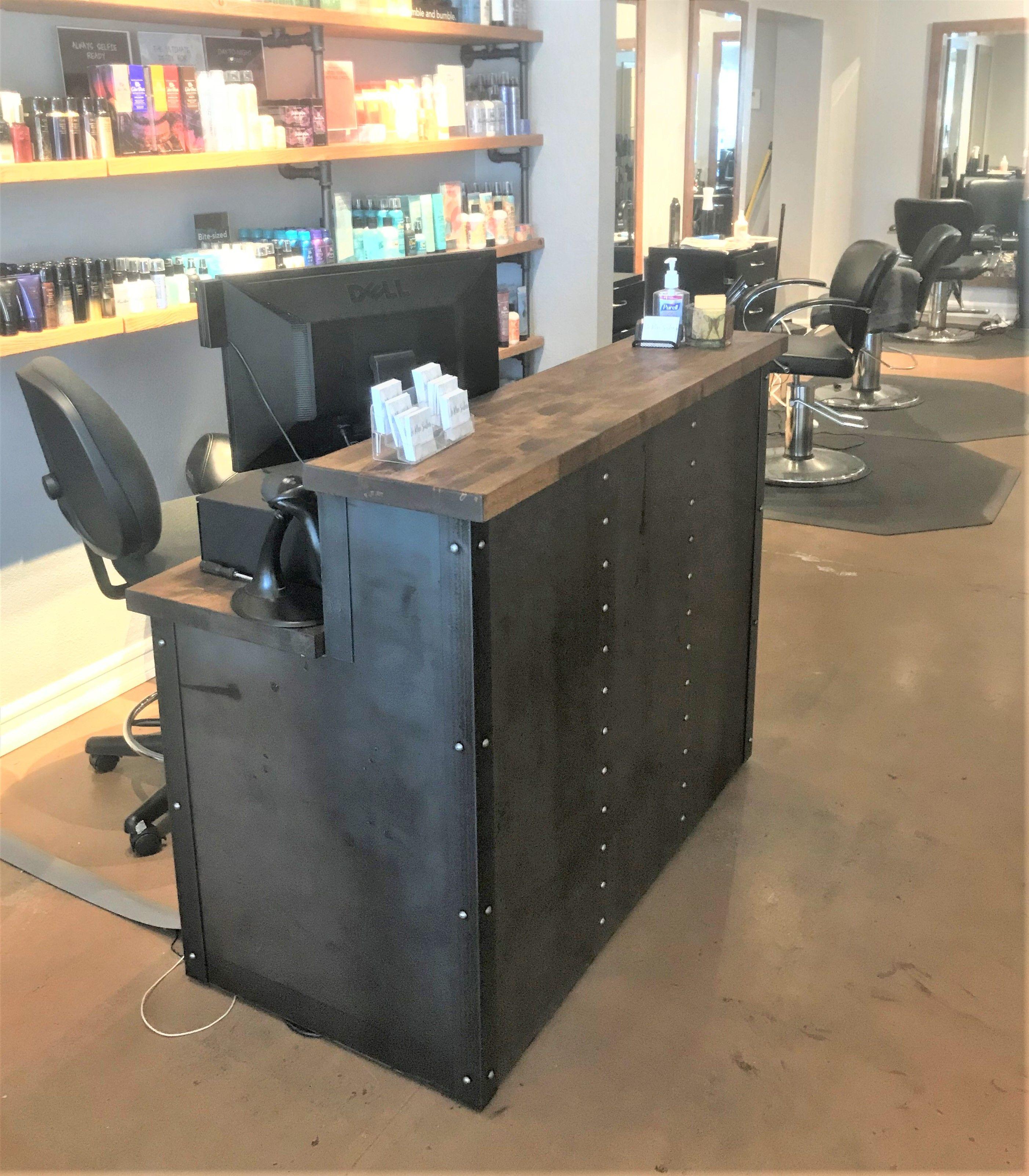 Hand Crafted Modern Industrial Reception Desk, Urban Steel