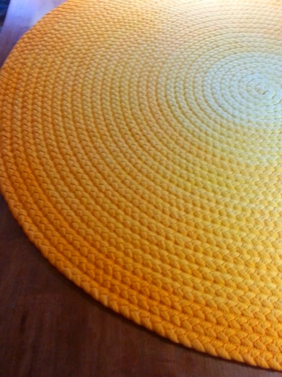 Hand Made Cotton Braided Area Rug In Bright Yellow Ombre