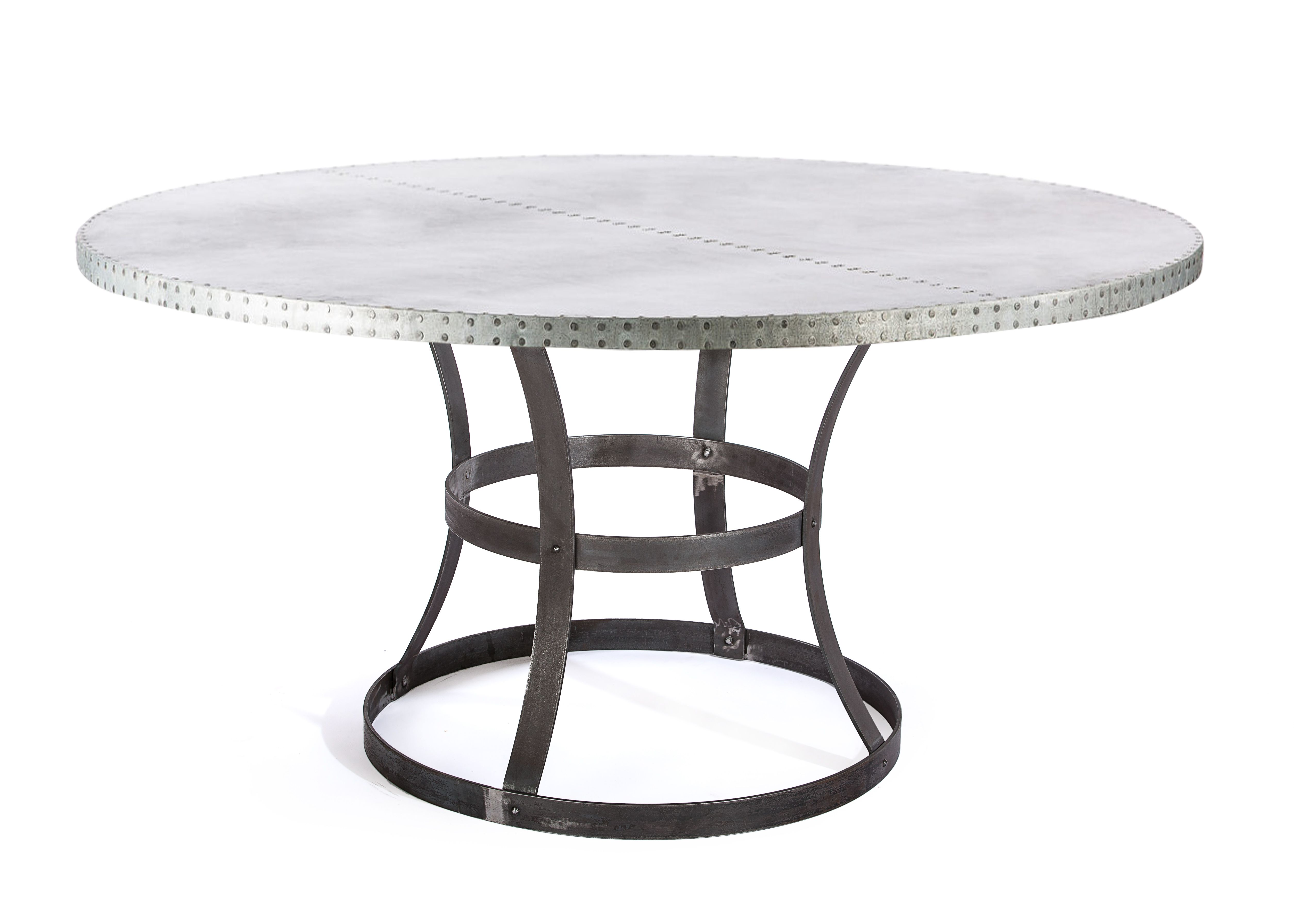 zinc kitchen table pantry ikea buy a custom dining madera steel ring round made top