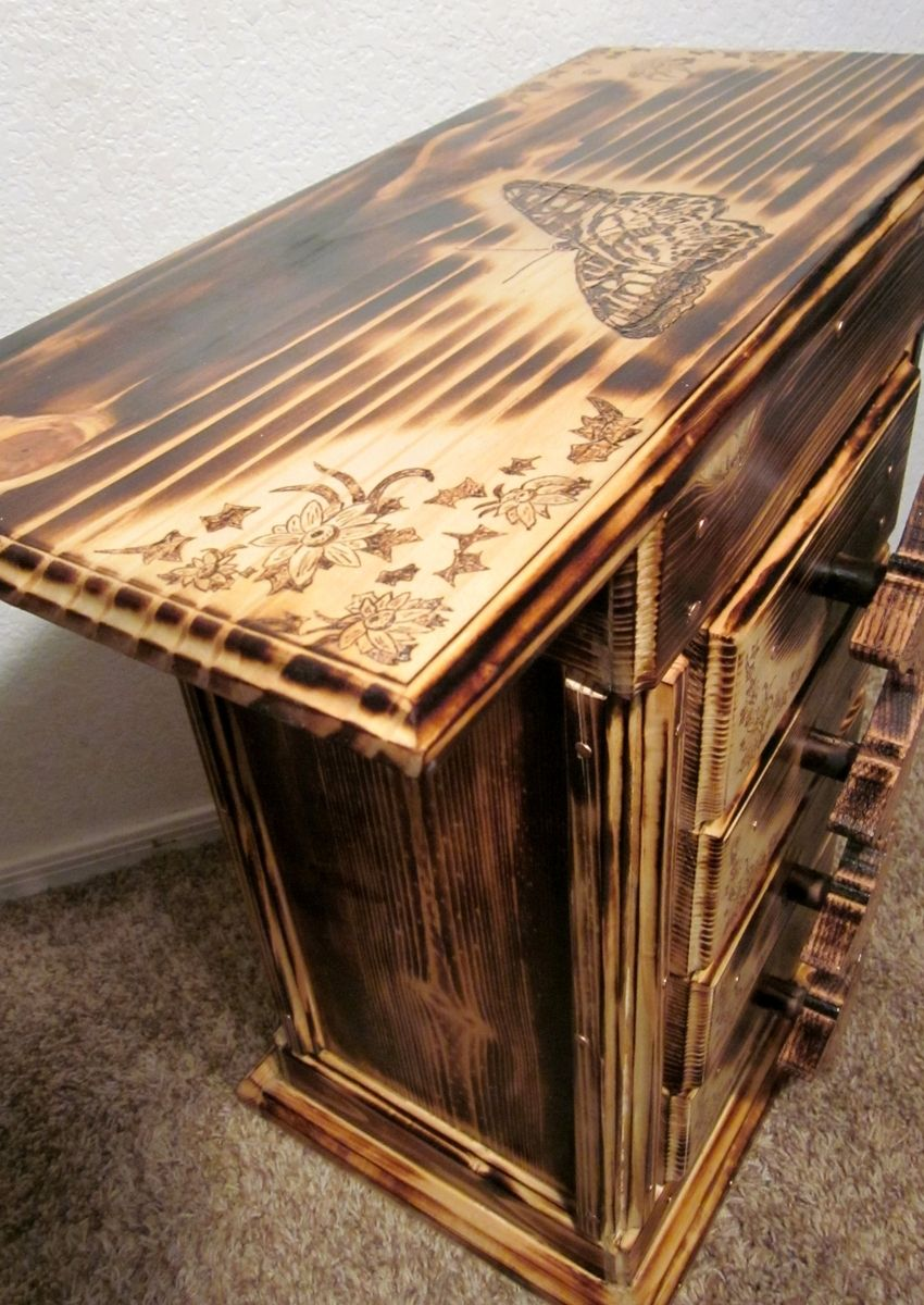 Hand Made Rustic End Table With Butterfly Pyrography By