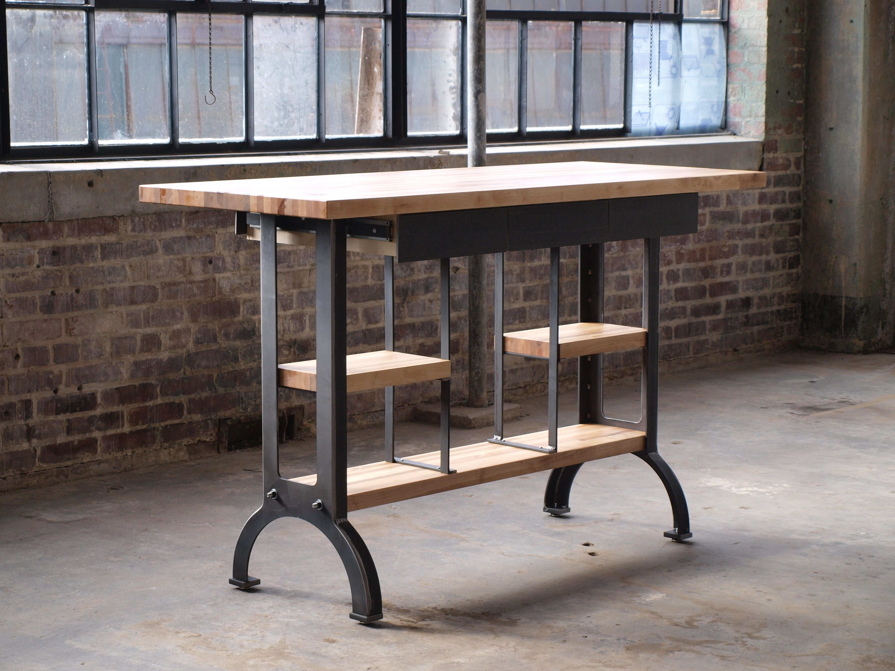 kitchen console aid artisan buy a custom maple modern industrial island table made