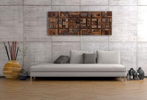 Handmade Wood Wall Art Of Geometric Shapes Reclaimed