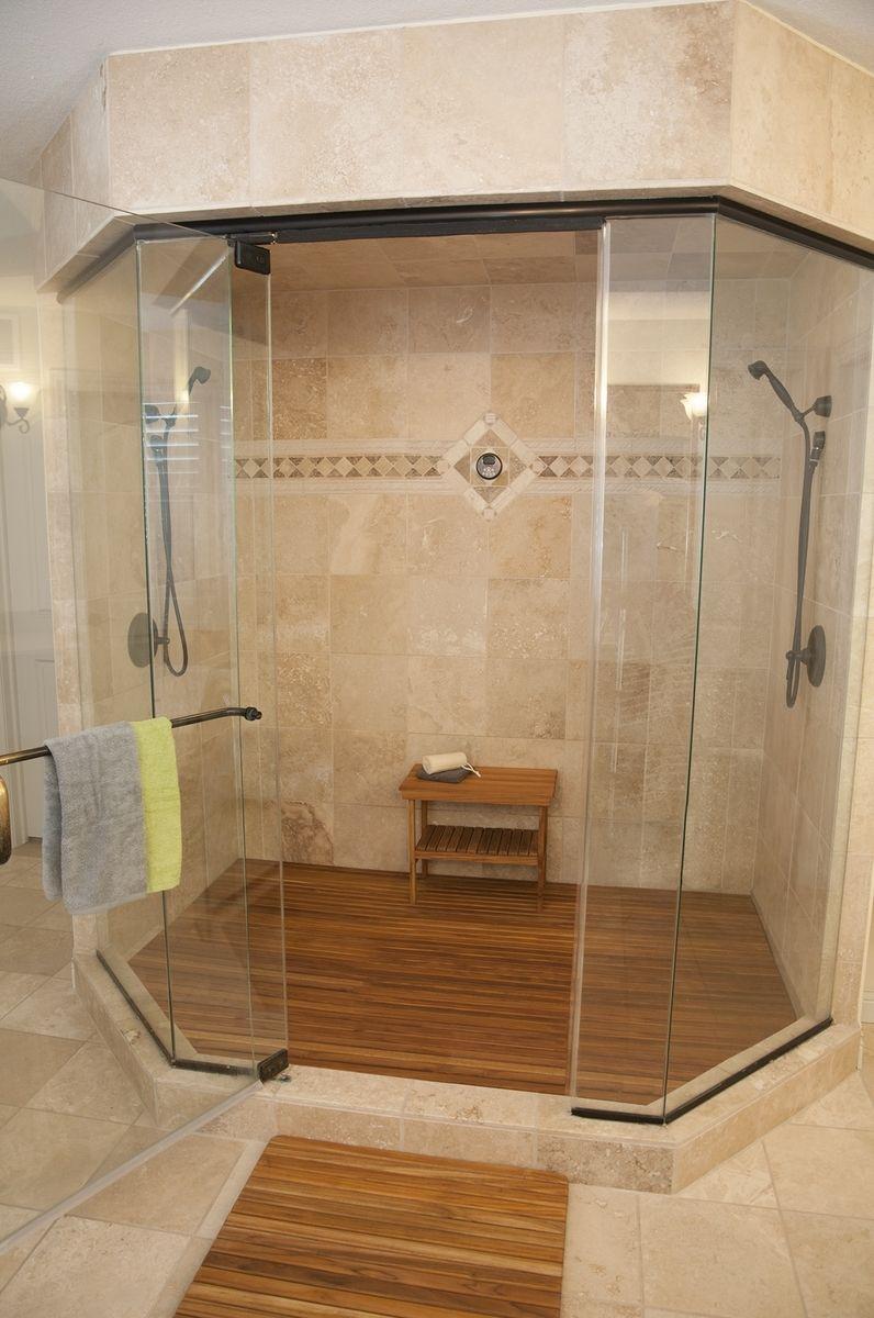 custom made teak shower mat by