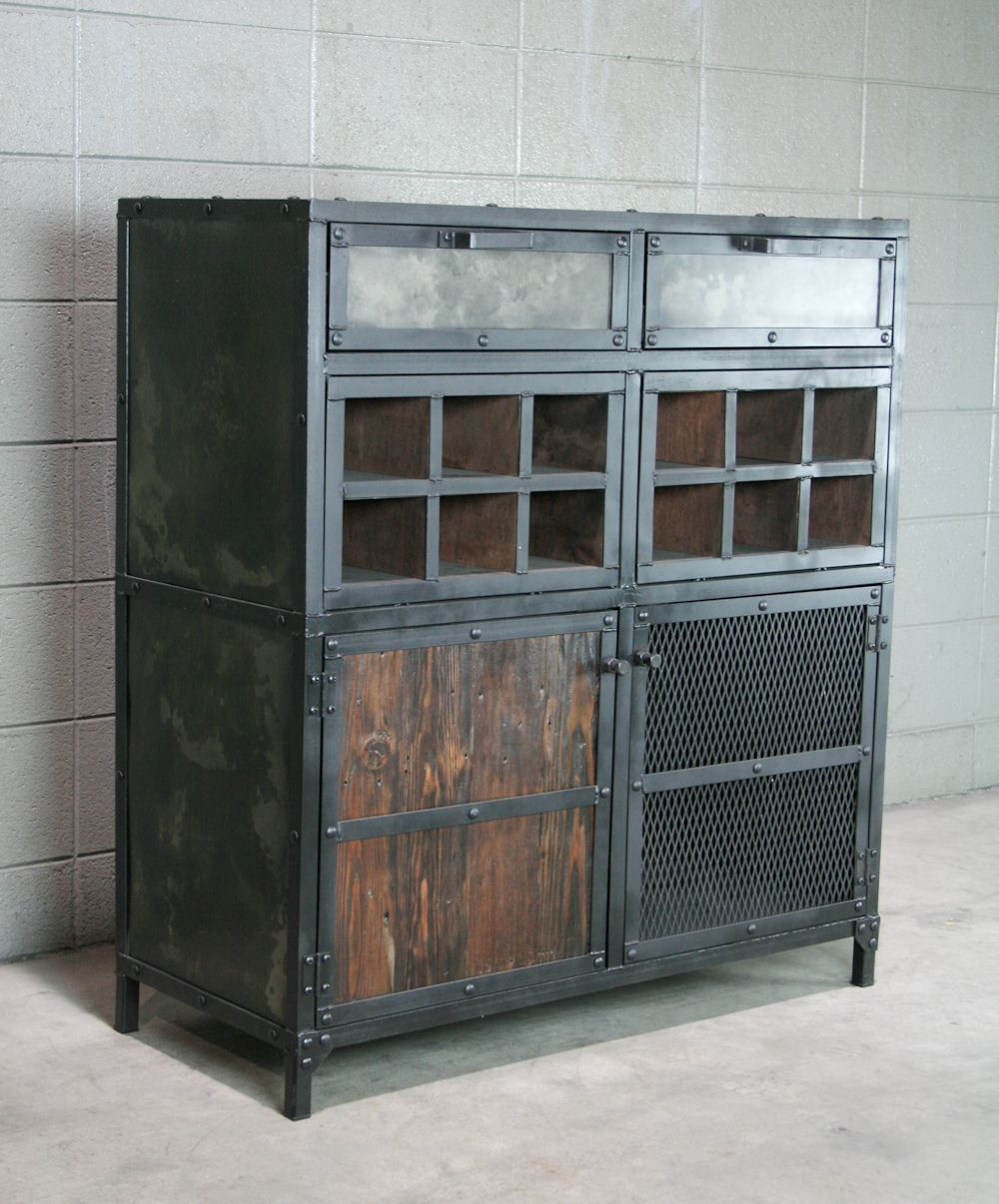 Buy a Hand Crafted Modern Industrial Liquor  Wine Cabinet