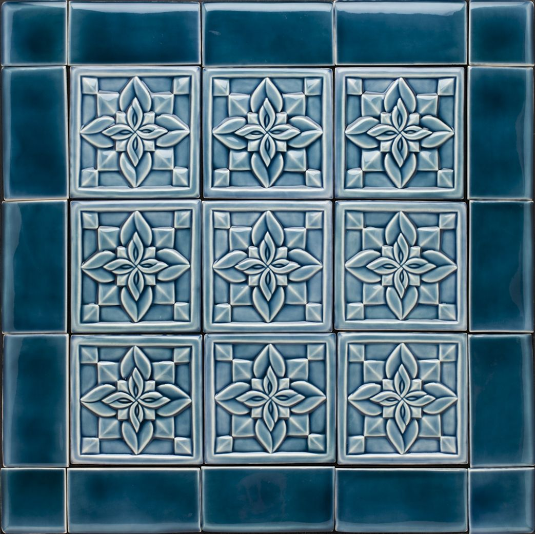 blue deco geometric backsplash
