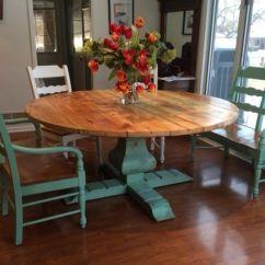 Farm Style Kitchen Table Tools Store Custom Reclaimed Wood Round Urn Pedestal Farmhouse ...