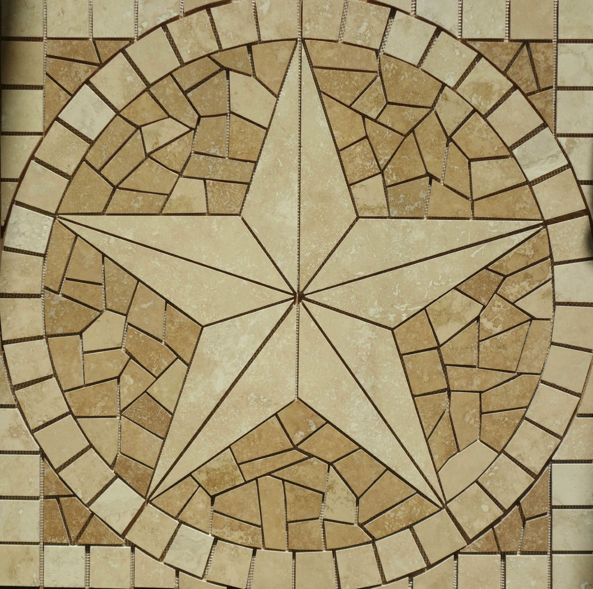 hand crafted mosaic texas star