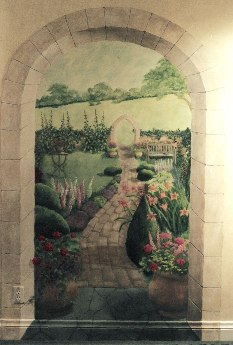Handmade English Garden Mural By Pompeii Artisans