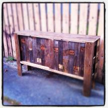 Hand Reclaimed Pallet Wood Entertainment Center With