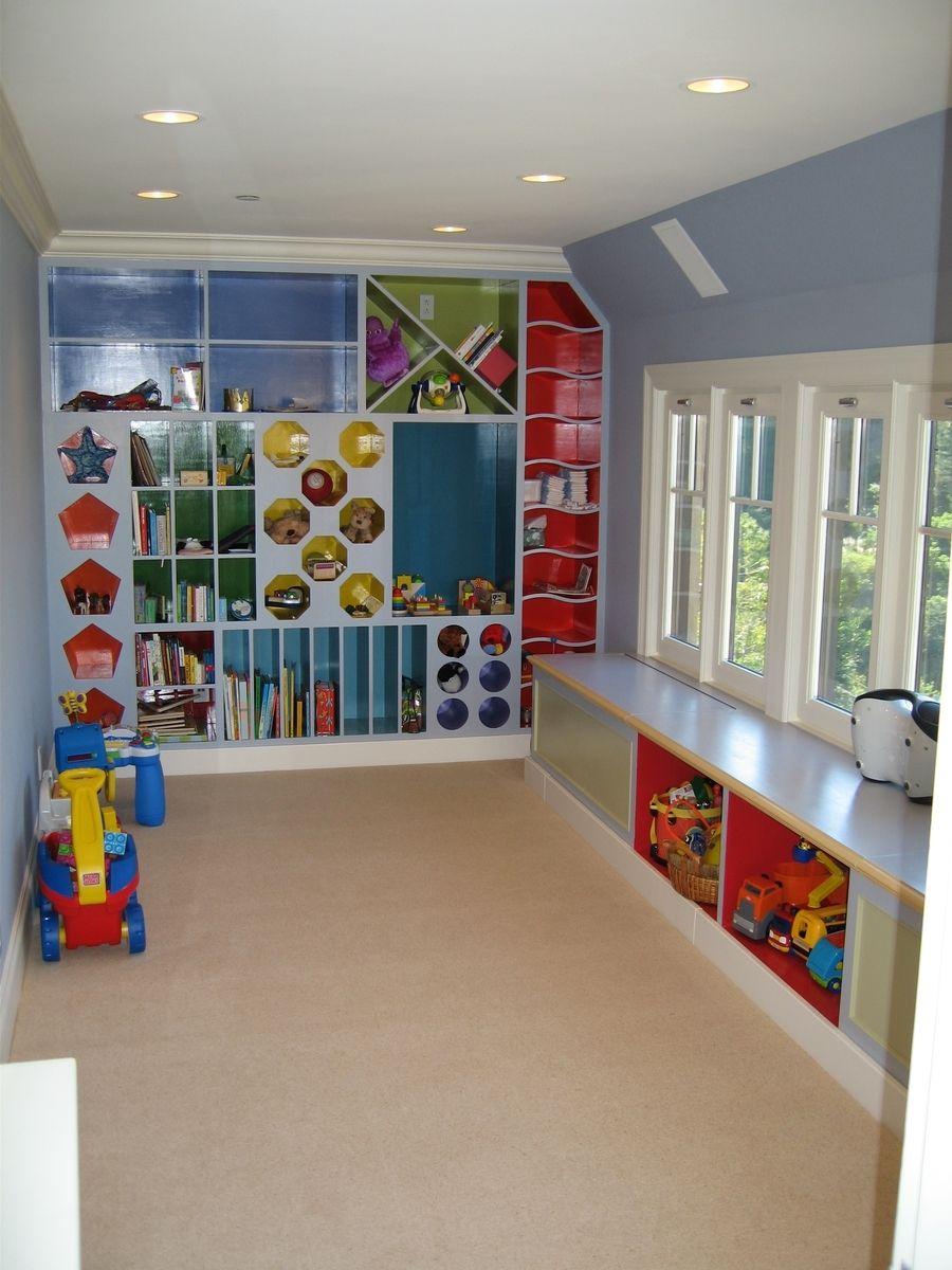 Custom Playroom Storage Cubbies By Clay Baker Design LLC